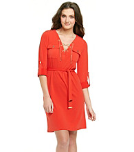 MICHAEL Michael Kors® Roll Sleeve V-Neck Hardware Dress