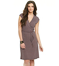 MICHAEL Michael Kors® Cap Sleeve V-Neck Printed Wrap Dress