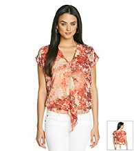 Skye's The Limit® Printed Ruffled Woven Top