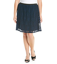 Relativity® Career Plus Size Lace Skirt