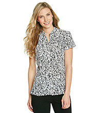 Notations® Printed Buttonfront Peplum Top