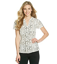 Notations® Snakeskin Print Buttonfront Peplum Top