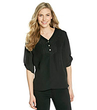 Notations® Studded Y-Neck Shirt