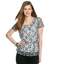 Notations® Scoopneck Printed Lace Peplum Top