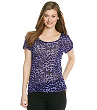Notations® Allover Animal Print Cancan Scoopneck Top