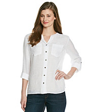 Notations® Buttonfront Y-Neck Shirt