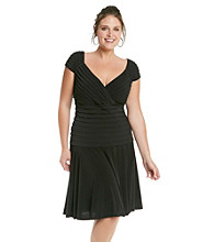 London Times® Plus Size Surplice Drop Waist Shutter Dress