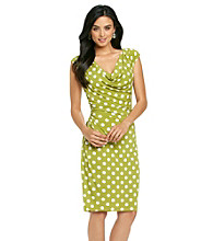 Ronni Nicole® Dot Print Drapeneck Dress