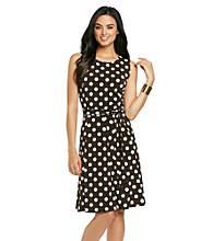 Ronni Nicole® Dot Print Belted Dress