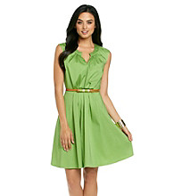 Evan-Picone® Full Skirt Belted Dress