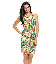 Evan-Picone® Belted Floral Print Dress