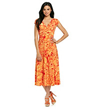 Evan-Picone® Printed Surplice Long Dress
