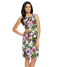 AGB® Floral Print Belted Sheath Dress