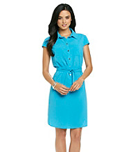 Madison Leigh® Cap Sleeve Belted Shirt Dress