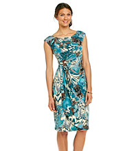 Connected® Printed Side-Drape Dress