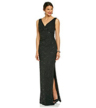 R & M Richards® Long Lace Surplice Dress