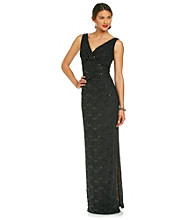R & M Richards® Petites' Lace Surplus Long Dress