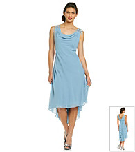 S.L. Fashions Chiffon Beaded Drape Front Dress