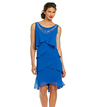 S.L. Fashions Chiffon Tiered Dress With Necklace