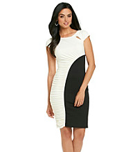 Sangria™ Two-Tone Ruched-Side Dress