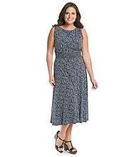 Jessica Howard® Plus Size Printed Ruched-Waist Dress