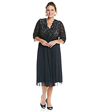 Jessica Howard® Plus Size Lace Surplice Ruched Waist Dress