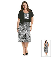 Perceptions Plus Size Print Knit Jacket Dress