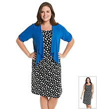 Perceptions Plus Size Dot Print Dress and Jacket