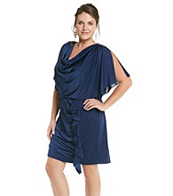 R & M Richards® Plus Size Silky Blouson Dress