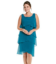 S.L. Fashions Plus Size Chiffon Tiered Dress