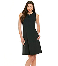 Anne Klein® Slit Neck Sateen Dress
