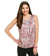 Kasper® Printed Pleat Neck Cami