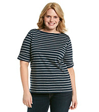 Jones New York Sport® Plus Size Boatneck Striped Knit Top