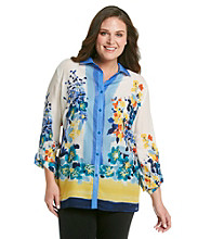 Rafaella® Plus Size Printed Roll Sleeve Woven Shirt