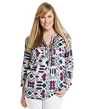 Jones New York Signature® Plus Size Embellished Neckline Tunic