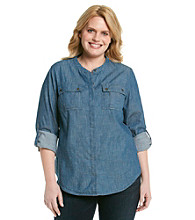 Jones New York Sport® Plus Size Banded Collar Button Front Shirt