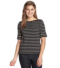Jones New York Sport® Petites' Striped Tab Cuff Boatneck Tee