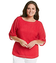 Notations® Plus Size Braided Knit Top With Tank