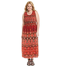 Notations® Plus Size Printed Long Maxi Dress