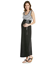Three Seasons Maternity™ Stripe & Solid Maxi Dress