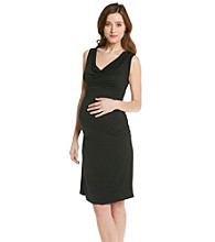 Three Seasons Maternity™ Cowlneck Side-Ruched Solid Dress