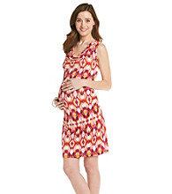 Three Seasons Maternity™ Cowlneck Side-Ruched Print Dress