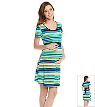 Three Seasons Maternity™ Belted Stripe Dress