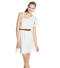 Trixxi® Juniors' One-Shoulder Belted Crochet Dress