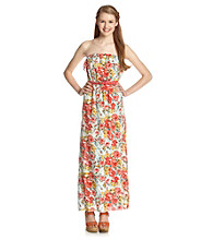 Trixxi® Juniors' Belted Floral Maxi Dress