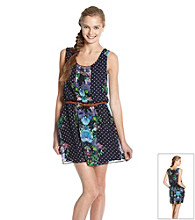 City Triangles® Juniors' Belted Floral Print Dress