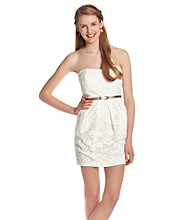 A. Byer Juniors' Strapless Ivory Lace Dress