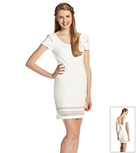 Rampage® Juniors' Ivory Cap Sleeve Lace Cutout Dress