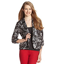 Eyeshadow® Juniors' Cinched Sleeve Floral Blazer