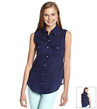 Eyeshadow® Juniors' Lace Back Button Down Shirt